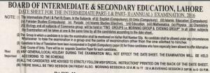 All Punjab Boards 10th Class Date Sheet 2018