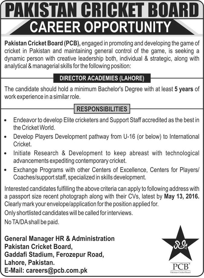 Pakistan Cricket Board Job Career Opportunity For Director Academies Lahore Vacancy Is Open