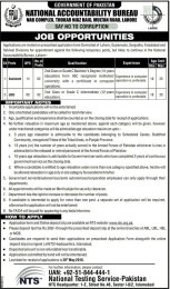 National Accountability Bureau NAB Lahore Jobs For Assistant UDC 20 May 2016 To Apply