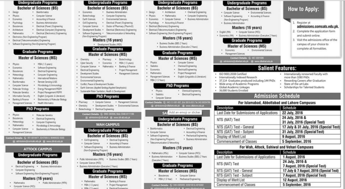 COMSATS Fall 2016 Admission Last Date To Apply Is 22 July 2016