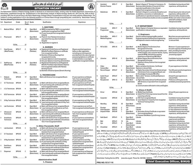 Jobs in Balochistan Institute of Nephrology-Urology Quetta 2016