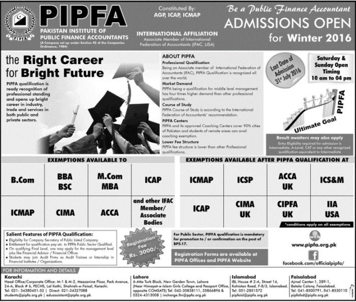 Pakistan Institute Of Public Finance Accountants Admission 2016