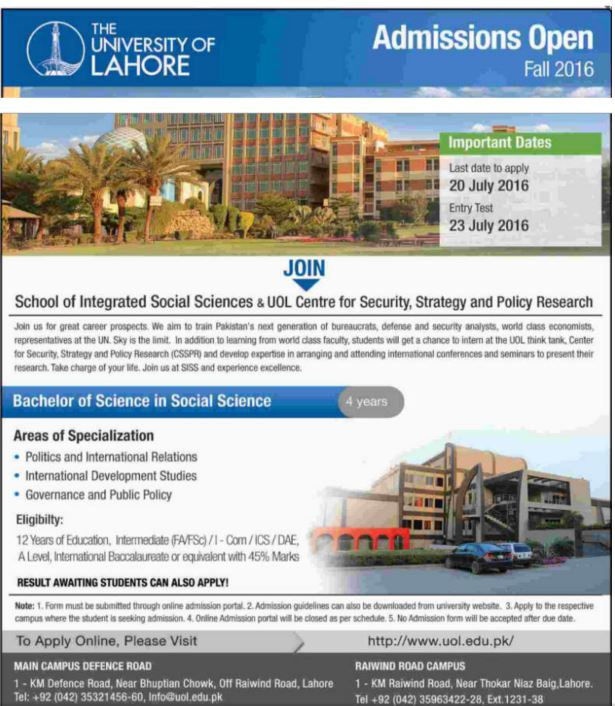 University Of Lahore Bachelor of Science In Social Science 4 Years Admission