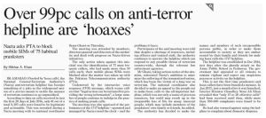 Anti Terror Help Line Pakistan Facing Issues Of Prank Callers So Sad
