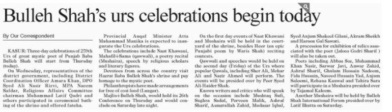 Bulleh Shah Urs Celebrations