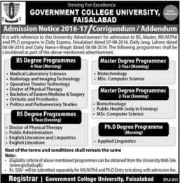 Government College University Faisalabad Program Offered Admission Open