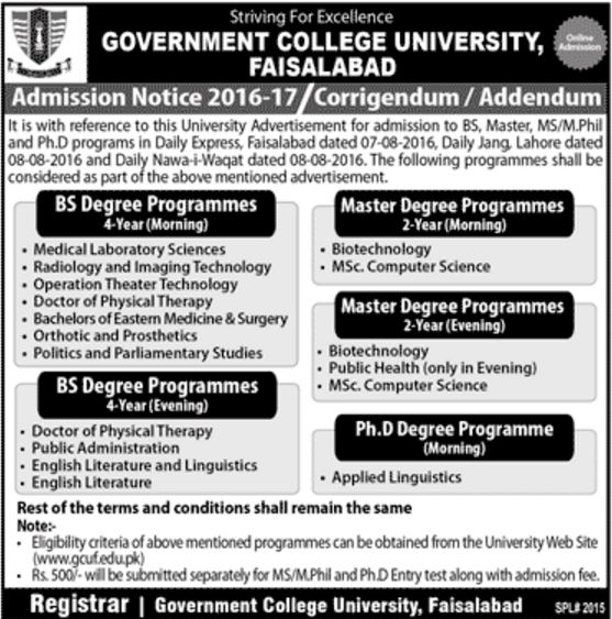 Government College University Faisalabad Program