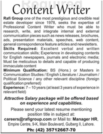 Rafi Group Lahore Looking For Content Writer