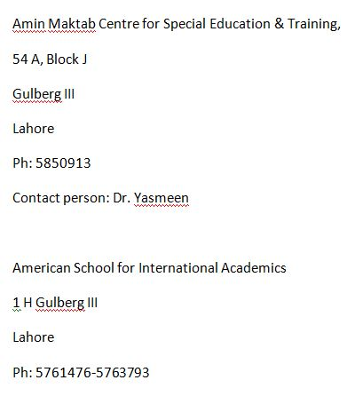 Special Children Schools In Lahore