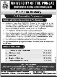 University of The Punjab Mphil In Dept of History And Pakistan Studies