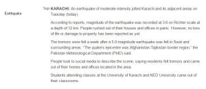 Earthquake In Pakistan Today 2017 Date Magnitude Epicenter Location