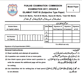8th Class Islamiat Model Paper 2017 PEC Issued Board Sample Papers