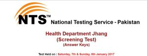 Health Department Jhang Jobs Screening Test NTS Result 2017 Answer Key