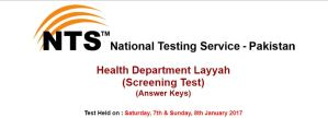 Health Department NTS Screening Test At Layyah Result 2017 Answer Key
