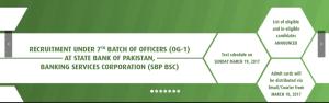OG 1 Officer IBP 7th Batch SBP Banking Service Written Test Result 2017