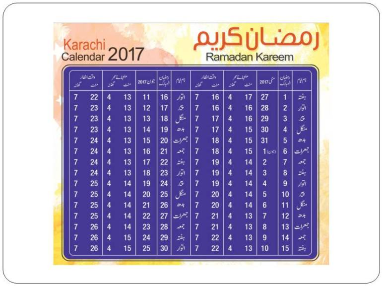 Karachi Ramadan Timings 2017