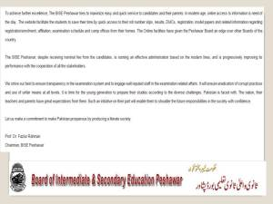 BISE Peshawar Matric Result 2017 Position Holders SSC Top 10, 20