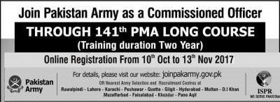 joinpakarmy.gov.pk 141 Long Course 2017 Online Registration ISSB Schedule Test Date