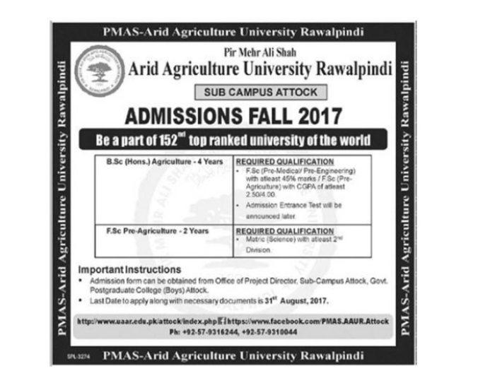 Arid Agriculture University Attock Campus Admissions Fall 2017