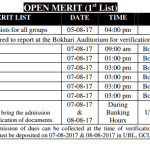 GC University Lahore Open Merit List 2017 Pre Medical, Engineering 1st List Others