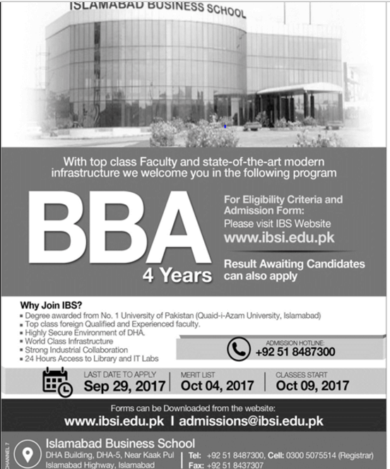 Islamabad Business School IBS admissions 2017 advertisement