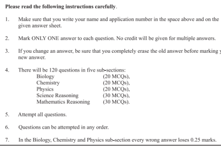 LUMHS Entrance Test Question Sample Paper
