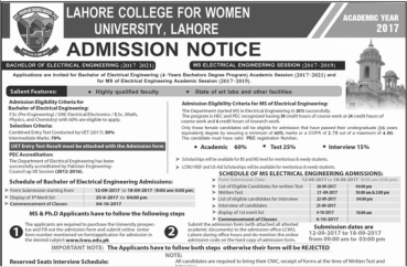 Lahore College For Womens University Admission 2017 Electrical Engineering