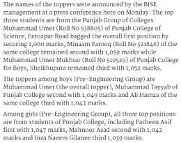 Inter Part 2 Result 2017 Lahore Board Pre Engineering Group Boys Girls Final Year
