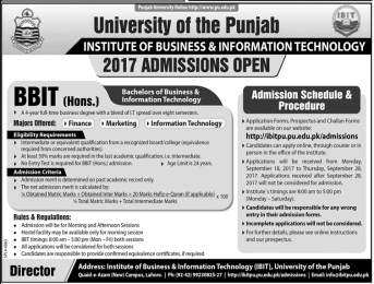 Punjab University Lahore BBIT Admission 2017, Fee Structure, Subjects, PU Course In Pakistan