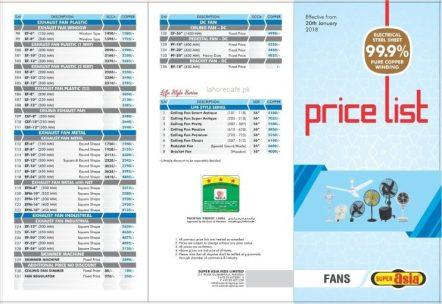 Super Asia Fans Price List 2018 Lahore