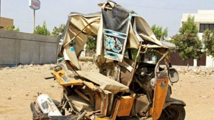 rickshaw collided with bus