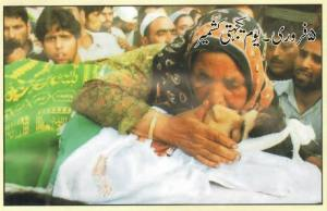 A mother is crying on her son death