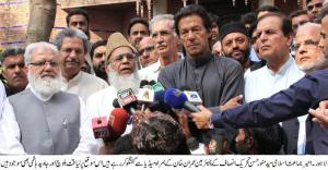 syed  munawar hasan , Imran Khan talking to media