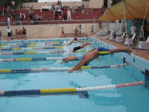 The players are diving in 50 M distance swimming competition