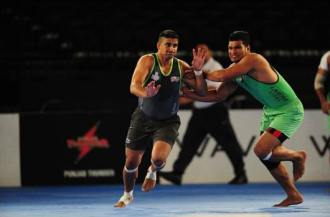 world Kabaddi League match G Arena on August 16, 2014 in Birmingham, England. (Photo by Dan Mullan - WKL/WKL via Getty Images)
