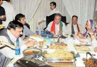 PTI leadership having meal