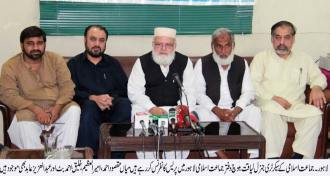 Liaqat Baloch is addressing a press conference in mansoora