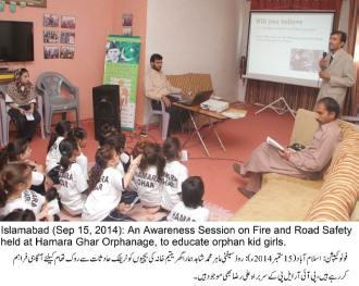 Road safety awareness session held at Hamara Ghar Orphanage, Islamabad_Sep15-2014