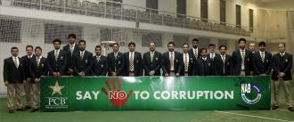 "NAB message ""Say NO to Corruption"" displayed by Pakistan Cricket Team before leaving to participate in World Cup - 2015"