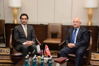 Speaker of the National Assembly of Pakistan meeting with Speaker of the Turkish Grand National Assembly at Istanbul on 22 January 2015.