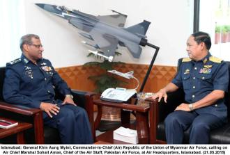 General Khin Aung Myint calls on Air Chief Marshal Sohail Aman