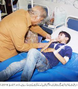 cm inquring after the victim of blast