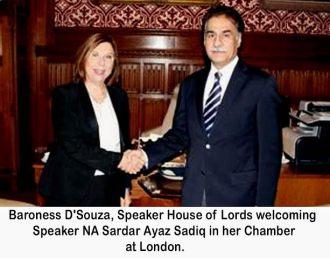 Speaker National Assembly Sardar Ayaz Sadiq called on Speaker House of Lord, Baroness D'Souza