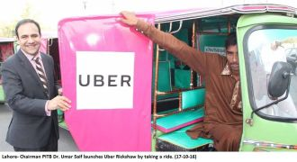 chairman-pitb-dr-umar-saif-inaugurates-the-uber-richshaw-in-lahore