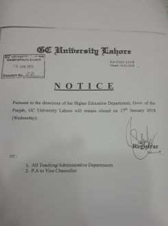GCU will remain closed today due to PAT Jalsa