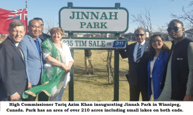 Tariq Azim Khan inaugurated the Jinnah Park at Winnipeg