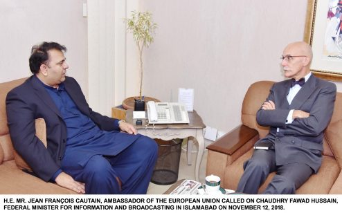 EU Ambassador to Pakistan Jean-Francois Cautain called on Minister for Information Fawad Ch