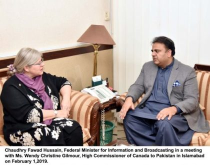 High Commissioner of  Canada to Pakistan called on information minister Fawad Ch