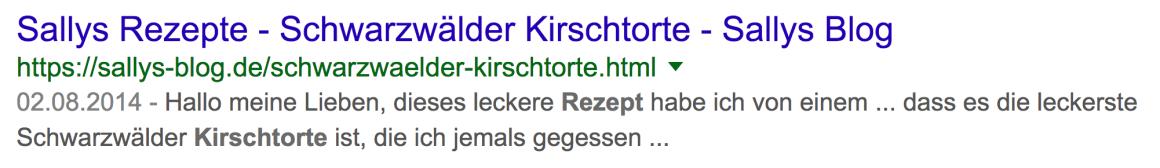 Google-Treffer Kirschtorte