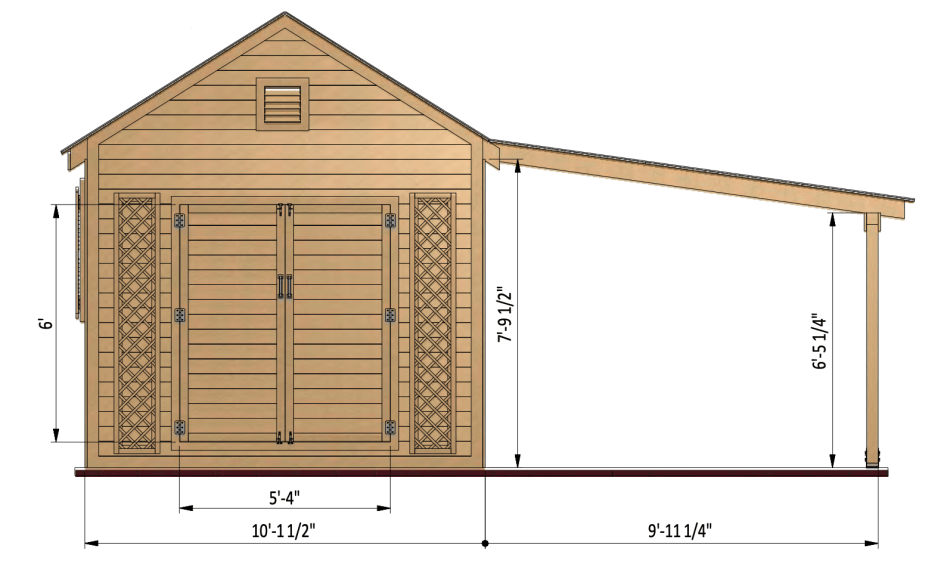 Shed plan showing measurements.